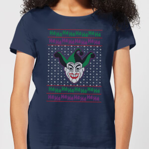 DC Joker Knit Women's Christmas T-Shirt - Navy