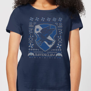 Harry Potter Ravenclaw Crest Damen Christmas T-Shirt - Navy Blau