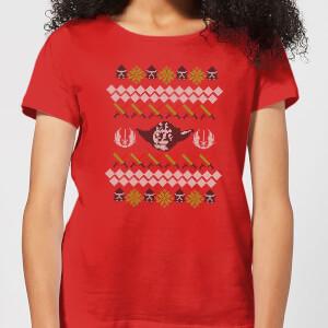 T-Shirt Star Wars Yoda Knit Christmas- Rosso - Donna