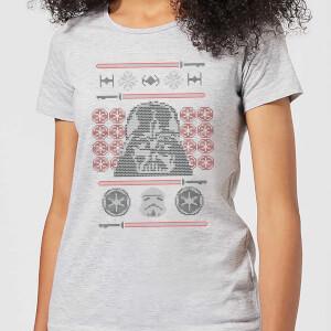 Star Wars Darth Vader Face Knit Women's Christmas T-Shirt - Grey