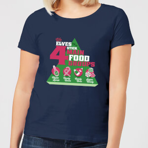 Elf Food Groups Women's Christmas T-Shirt - Navy