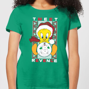 Looney Tunes Tweety Pie Tweet Revenge Women's Christmas T-Shirt - Kelly Green