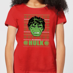 Marvel Hulk Face Women's Christmas T-Shirt - Red