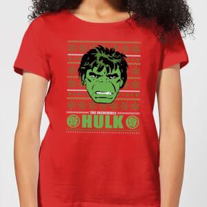 Marvel Hulk Face Women's Christmas T-Shirt - Red
