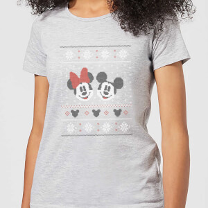 Disney Mickey and Minnie Women's Christmas T-Shirt - Grey