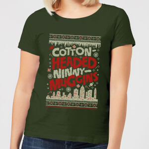 T-Shirt Elf Cotton-Headed-Ninny-Muggins Knit Christmas - Forest Green - Donna