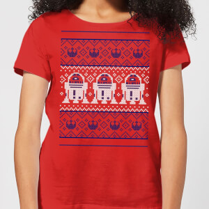 Star Wars R2-D2 Knit Women's Christmas T-Shirt - Red
