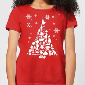 Star Wars Character Christmas Tree Women's Christmas T-Shirt - Red