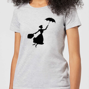 Mary Poppins Flying Silhouette Damen Christmas T-Shirt - Grau