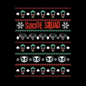DC Suicide Squad Knit Pattern Women's Christmas Sweatshirt - Black