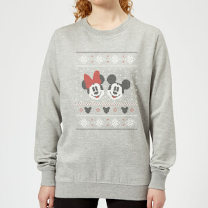 Disney Mickey and Minnie Women's Christmas Sweater - Grey