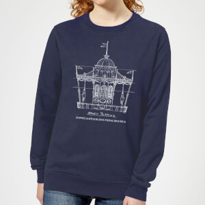 Mary Poppins Carousel Sketch Women's Christmas Sweater - Navy
