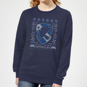 Felpa Harry Potter Corvonero Crest Christmas - Navy - Donna