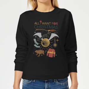 Harry Potter All I Want Women's Christmas Sweater - Black