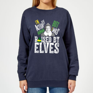 Elf Raised By Elves Women's Christmas Sweatshirt - Navy