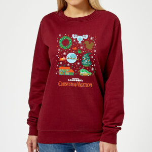 National Lampoon Griswold Christmas Starter Pack Women's Christmas Sweatshirt - Burgundy