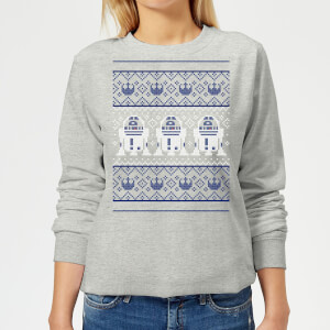 Star Wars R2-D2 Knit Women's Christmas Sweatshirt - Grey