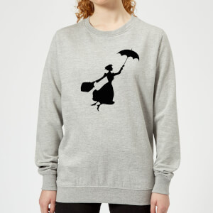 Mary Poppins Flying Silhouette Women's Christmas Sweatshirt - Grey