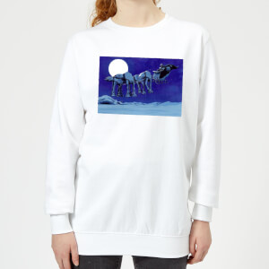 Star Wars AT-AT Darth Vader Sleigh Women's Christmas Sweatshirt - White