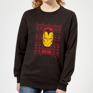 Marvel Iron Man Face Women's Christmas Sweatshirt - Black