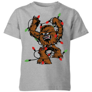 Star Wars Tangled Fairy Lights Chewbacca Kids' Christmas T-Shirt - Grey