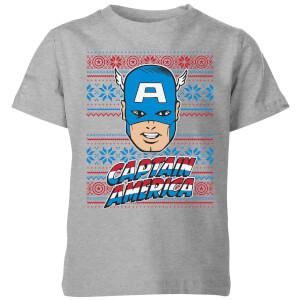 Marvel Captain America Face Kids' Christmas T-Shirt - Grey