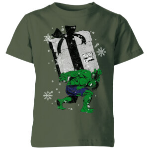 Marvel The Incredible Hulk Christmas Present Kids' Christmas T-Shirt - Forest Green