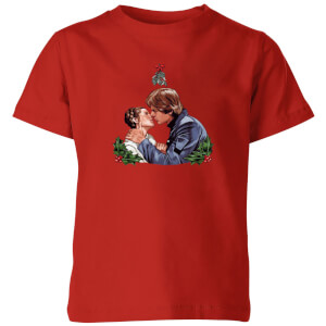 Star Wars Mistletoe Kiss Kids' Christmas T-Shirt - Red