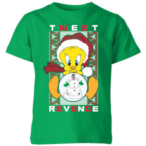 Looney Tunes Tweety Pie Tweet Revenge Kids' Christmas T-Shirt - Kelly Green
