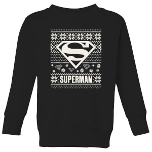 DC Superman Knit Pattern Kids' Christmas Sweatshirt - Black