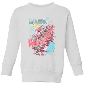 DC Ho Ho Whoaaaaaaa Kinder Weihnachtspullover - Weiß