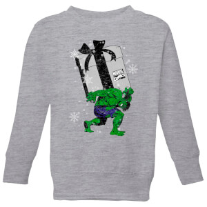 Marvel The Incredible Hulk Christmas Present Kids' Christmas Sweatshirt - Grey