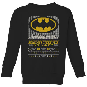 DC Seasons Greetings From Gotham Kids' Christmas Sweatshirt - Black
