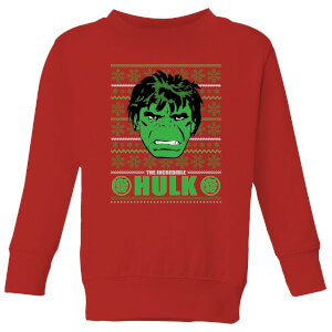 Marvel Hulk Face Kids' Christmas Sweatshirt - Red