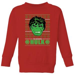 Marvel Hulk Face Kids' Christmas Sweater - Red