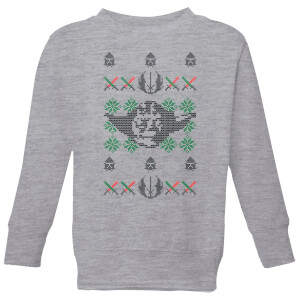 Star Wars Yoda Face Knit Kids' Christmas Sweatshirt - Grey
