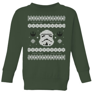 89732721854ed1 Star Wars Stormtrooper Knit Kids' Christmas Sweatshirt - Forest Green