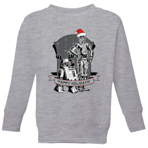 Star Wars Happy Holidays Droids Kids' Christmas Sweatshirt - Grey