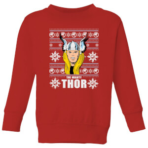 Marvel Thor Face Kids' Christmas Sweatshirt - Red from I Want One Of Those