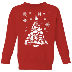 Star Wars Character Christmas Tree Kids' Christmas Sweatshirt - Red