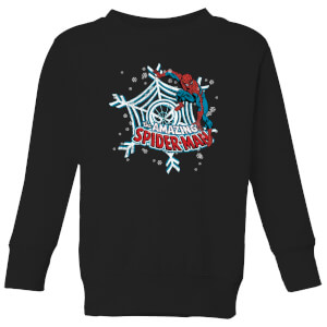 Marvel The Amazing Spiderman Snowflake Web Kids' Christmas Sweatshirt - Black
