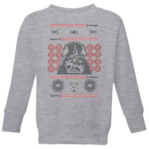 Star Wars Darth Vader Face Knit Kids' Christmas Sweatshirt - Grey