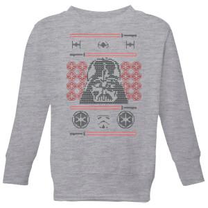 Star Wars Darth Vader Face Knit Kids' Christmas Sweatshirt - Grey