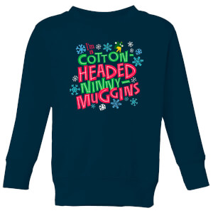 Elf Cotton-Headed Ninny-Muggins Kids' Christmas Sweatshirt - Navy