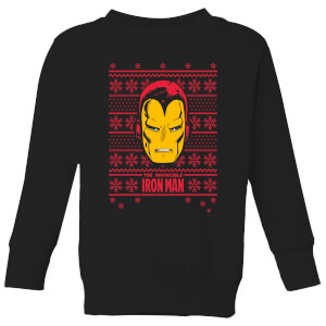 Marvel Iron Man Face Kids' Christmas Sweatshirt - Black