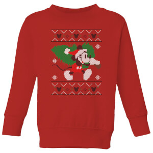 Disney Tree Mickey Kids' Christmas Sweatshirt - Red