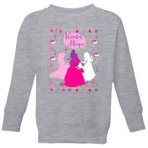 Disney Princess Silhouettes Kids' Christmas Sweater - Grey