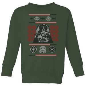 Star Wars Darth Vader Face Knit Kids' Christmas Sweater - Forest Green