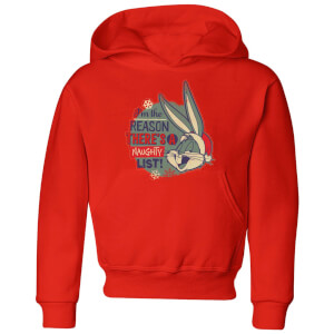 Looney Tunes I'm The Reason There Is A Naughty List Kids' Christmas Hoodie - Red