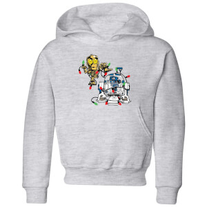 Star Wars Tangled Fairy Lights Droids Kids' Christmas Hoodie - Grey